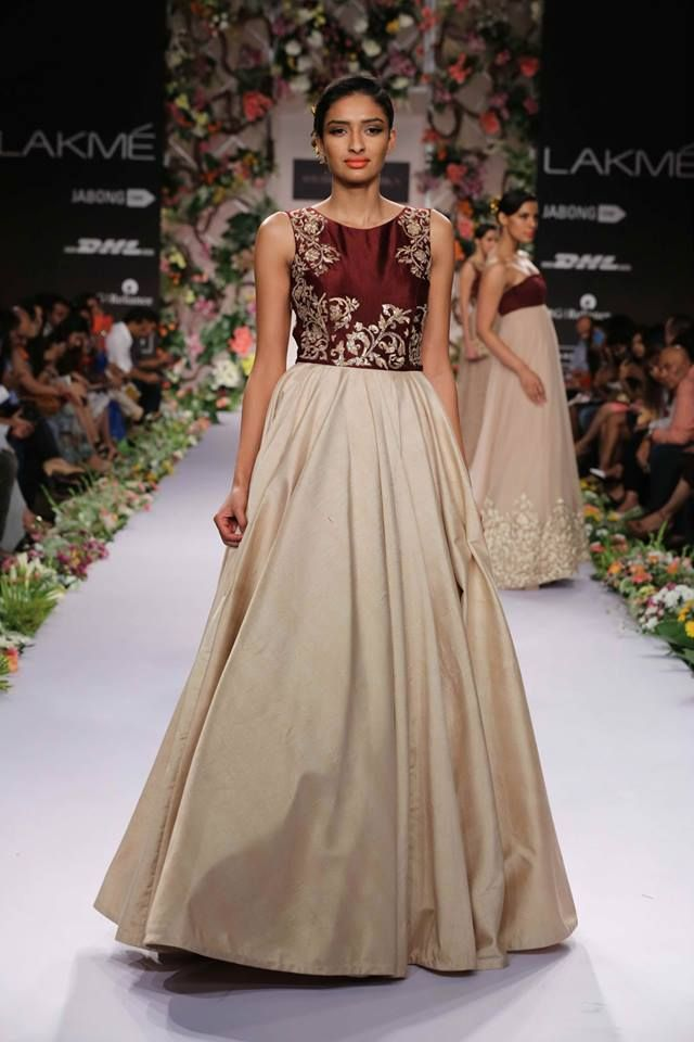 Shyamal Bhumika Lakme Fashion Week Summer Resort 2014 maroon and beige Indian wedding dress