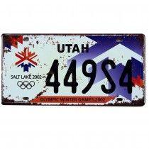 Placa de carro antiga decorativa metalica vintage - Utah