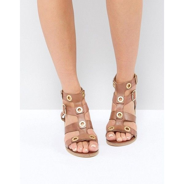 Ravel Stud Leather Mid Heel Sandal ($72) ❤ liked on Polyvore featuring shoes, sandals, tan, open toe heel sandals, ankle wrap shoes, ankle strap sandals, ankle strap heel sandals and tan shoes