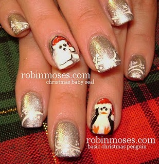 Christmas nail art!Nail Art Tutorials, Nails Art Tutorials, Robin Moses, Holiday Nails, Nailart, Nails Design, Christmasnails, Christmas Nails Art, Christmas Nail Art