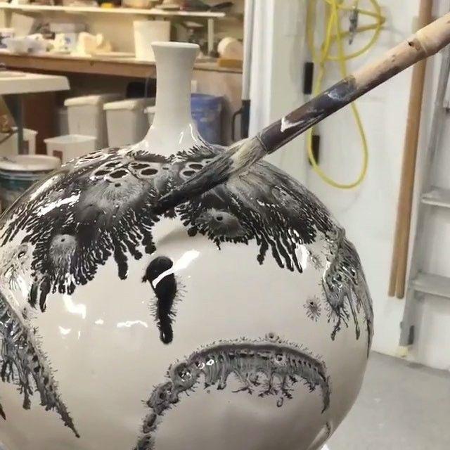 Pottery glazing using mocha diffusion with @brothersware_pottery. www.UpFade.com by streetartglobe