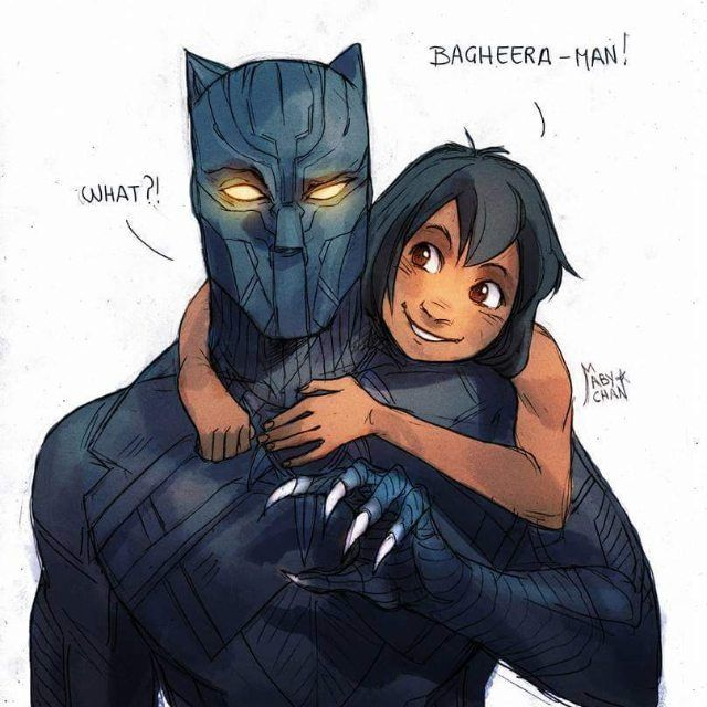 T'Challa as The Black Panther. 'Jungle Book,' 'Black Panther' crossover. Disney Marvel Fanart