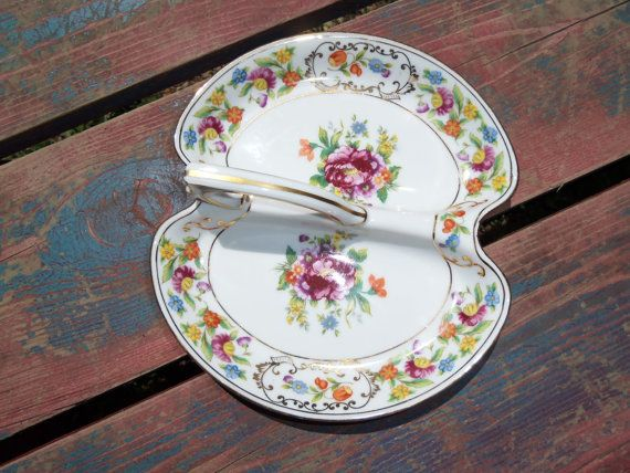Antique RARE NORITAKE DRESDENA Divided Split Relish Tray Dish w Handle Fine China Antique Plate Floral Dining Ware Flowers Fancy Old Serving...