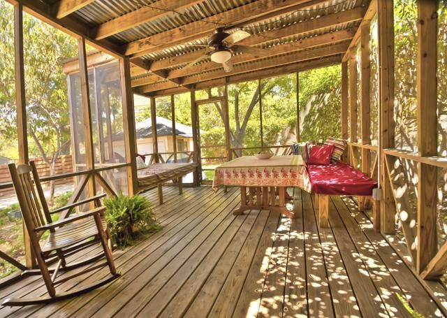Hubby just built us a screened in back porch with double screen doors and we are getting a metal - Screen porch roof set ...