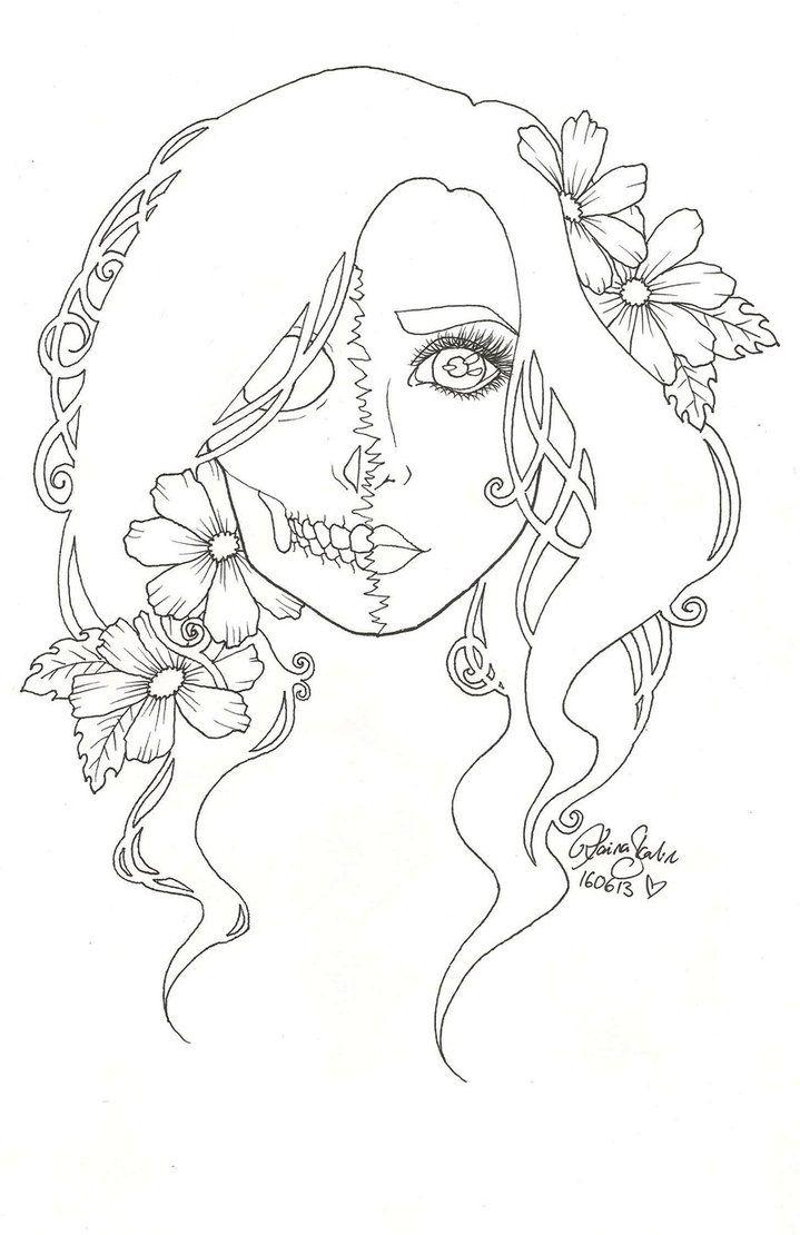 591 best skull coloring/ Dia de los Muertos images on Pinterest ...