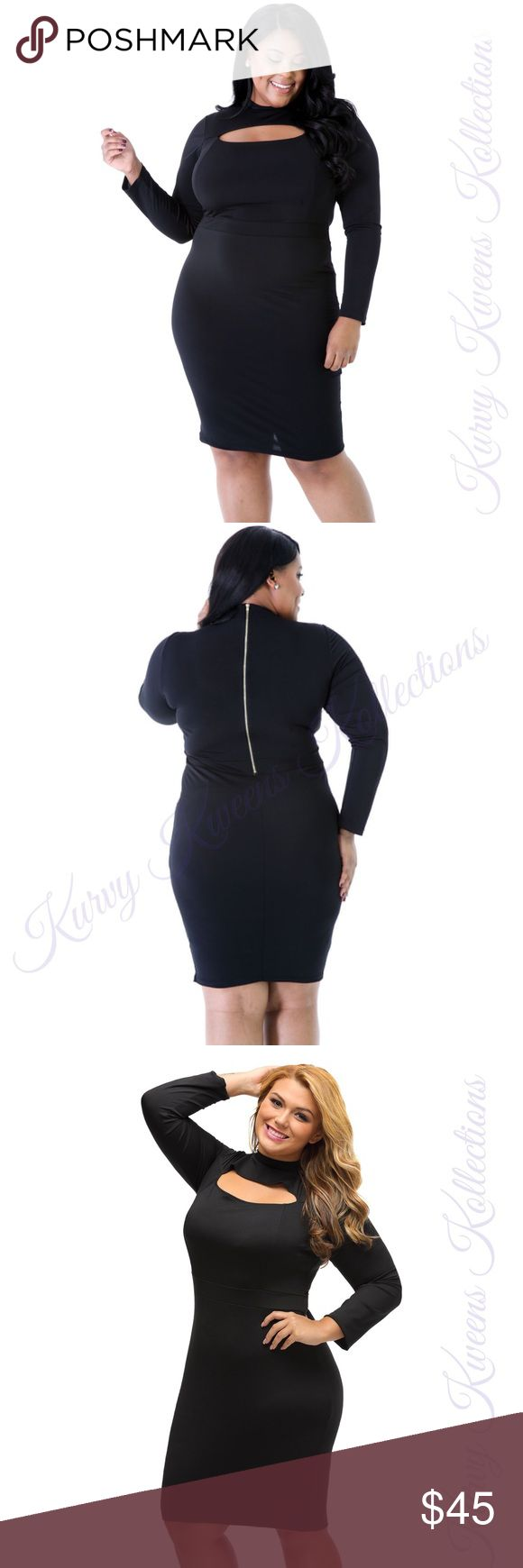 Keyhole Bodycon Dress This long sleeve bodycon dress will hug your curves in a direct way and make you look sexy while covered.  This dress features : *mock neckline *keyhole cutout design  *curve-hugging *exposed back-zip closure *long sleeve Dresses