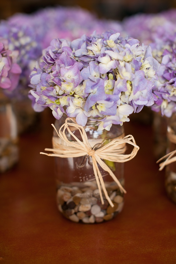Purple Hydrangeas in a Mason Jar