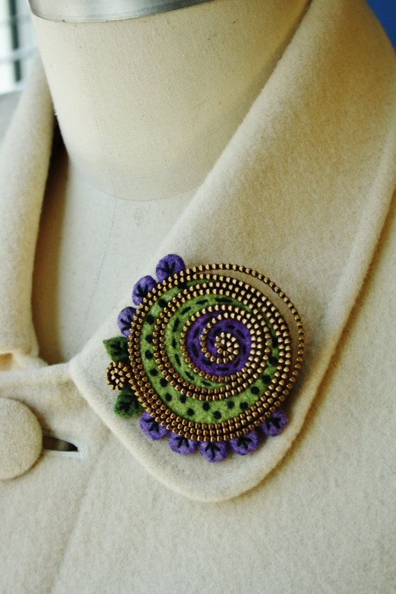 Felt and zipper abstract brooch by woollyfabulous on Etsy, $36.00
