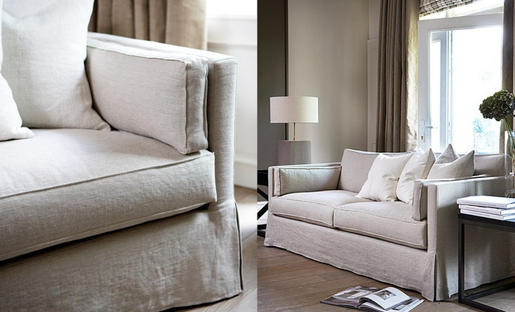 pale putty washed linen sofa and contemporary living room styling from Slettvoll