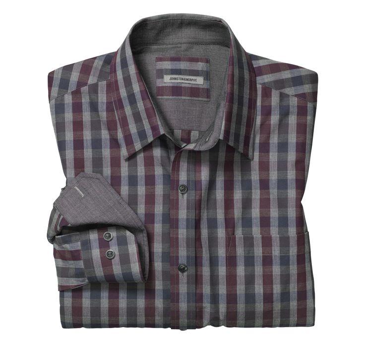 Tailored Fit Heather Gingham Shirt - Johnston & Murphy
