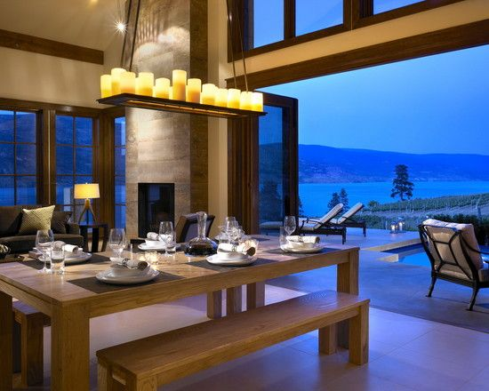 Seriously? This would be our getaway home by a lake.Chils Design, The Doors, Lakes House, Lights Fixtures, Open Spaces, The View, Diningroom, Contemporary Dining Rooms, Dining Room Design