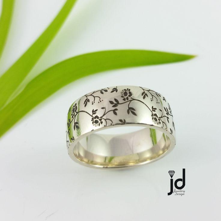 Ring   Laser Engraved   White Gold   www.jds.nz