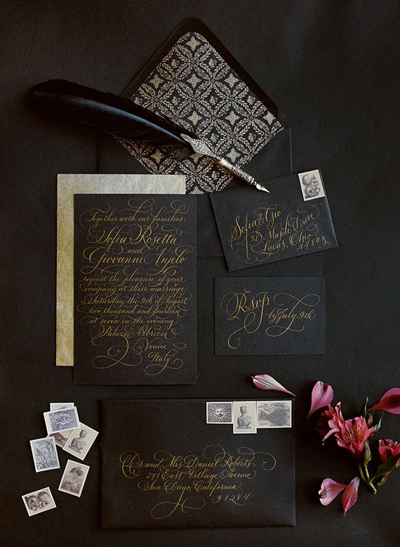 Black and gold calligraphy Deco wedding stationary #wedding #stationary #design