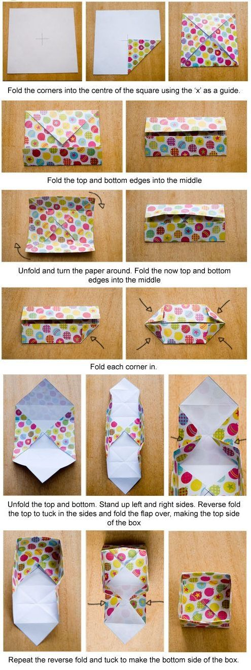 """DIY : How to make a tutorial- simple !from paper into a box. Fold a second box from a square ~1/4"""" smaller and you have a box with a matching lid. Great for reusing old maps, calendar pictures, etc. by writer, indulge"""