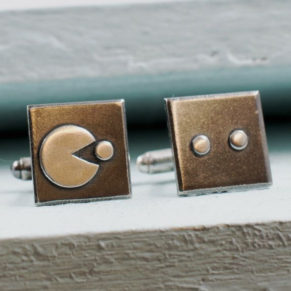 Retro Arcade Game Style Cufflinks in Sterling Silver. Video
