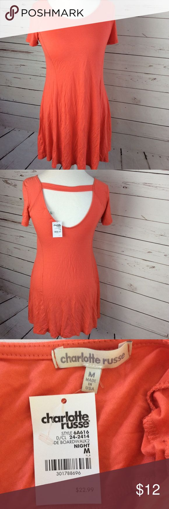 Charlotte Russe Womens T Shirt Dress Orange Open 100% money back guarantee, free returns and excellent customer service.  Your item will ship within 24 hours after payment is received (excluding weekends and Holidays)  Please let us know if you have any questions.   Charlotte Russe Womens Flowy T Shirt Dress Size Medium Orange Open Back  Location: M2  Our items are all from a pet free, smoke free home.  Items are purchased locally or donated so we are not aware if they have formally been…