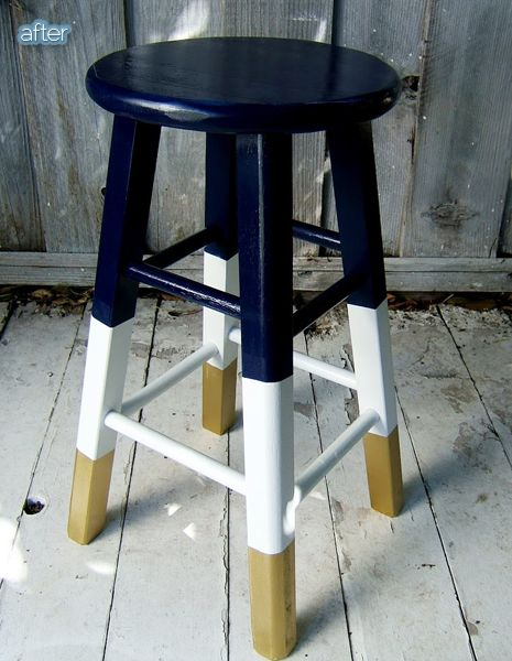 Better After: Red, White and Stools.  Painted stool makeover.  Navy, white, gold.