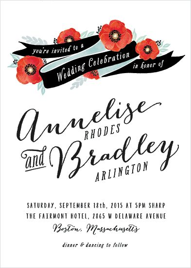 Swooning over this poppy #wedding invitation!