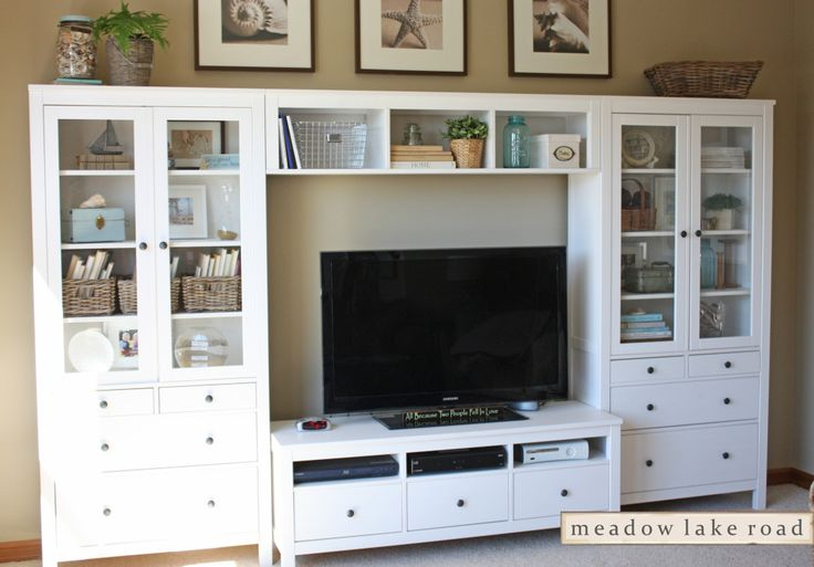 Accessorized White Entertainment Center - Meadow Lake Road  frames above entertainment center