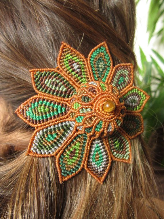 Big Flower Hair Clip/Barrette Green Orange Brown Macrame Handmade HIppie Hair Clip