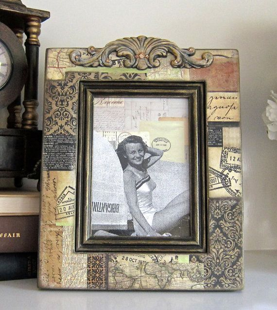 Fathers Day Gift Travel  Maps Photo Frame Bling by HannahBowBanna