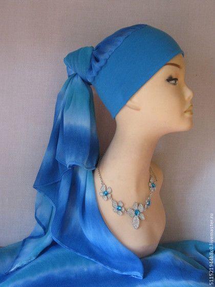 Пляжный трансформер - голубой,чалма,тюрбан,пляжная мода,пляжная одежда