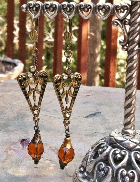 Vintage Art Deco-Art Nouveau Earrings, Black Rhinestone Gold Czech Glass Leaf