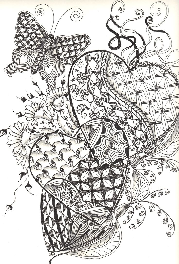 zen hearts intricate coloring page 675 best images about zentangle on 7366