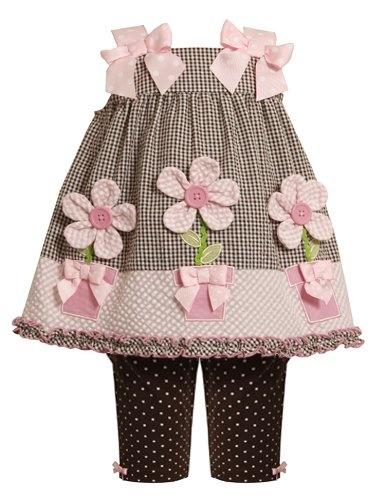Amazon.com: Bonnie Jean Baby-Infant 12M-24M 2-Piece Flower Pot Applique Seersucker Dress and Legging Set: Clothing