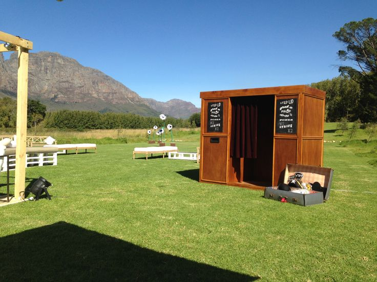 Had our photo booth for a wedding on a wine farm in stellenbosch, South Africa #photobooth #photo #booth #vintage #wedding #props #wooden photo booth #vintage photo booth #outdoor photo booth