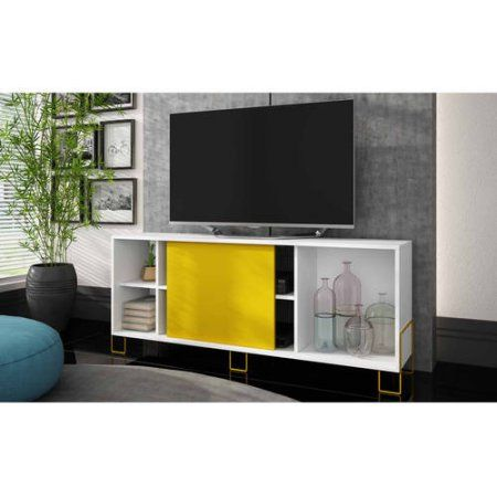 Mendocino Spruce Eye-catching TV Stand 2.0 for TVs up to 46 inch, Multiple Colors, White