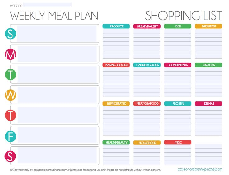 Free Editable Menu Plan and Grocery List! | Passionate Penny Pincher