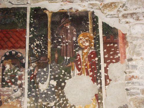 Cappella di Sant'Anna, Niella Tanaro - Il Miracolo di Santo Domingo della Calzada - Il giovane impiccato viene sostenuto da Santiago. I genitori indicano col dito che il giovane ha gli occhi aperti ed è ancora vivo.