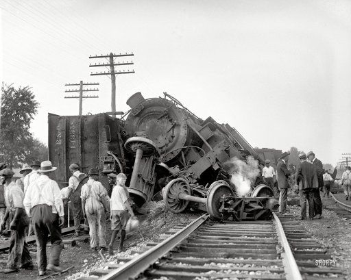 """Laurel, Maryland. July 31, 1922. """"Two B freights wrecked in head-on crash at Laurel switch."""" National Photo Company glass negative."""