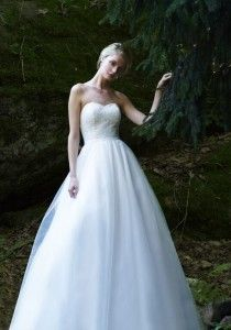 Sage by Robert Bullock Bride - Strapless sweetheart painted Pollock Net bodice with a tulle ball gown skirt.