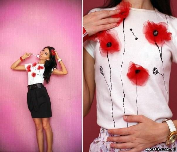 Как сделать цветы из органзы и украсить ими футболку