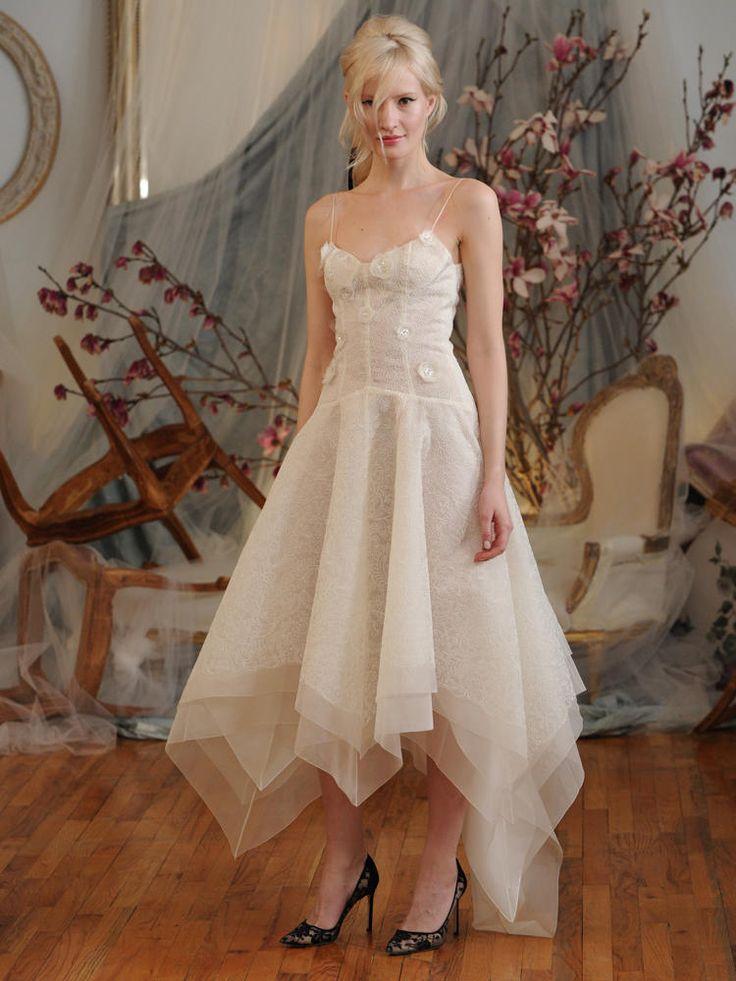Elizabeth Fillmore embroidered organza corset wedding dress with handkercheif overskirt Spring 2016