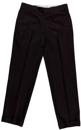 Kiton Wool Flat Front Trousers