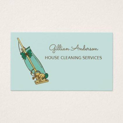 #Girly Green Vacuum Cleaner House Cleaning Services Business Card - #office #gifts #giftideas #business