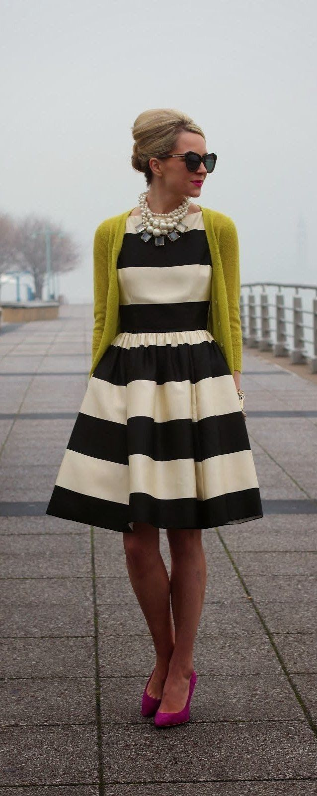 Stripes Dress With Sunflower Cardigan and Pumps  #fashion #style