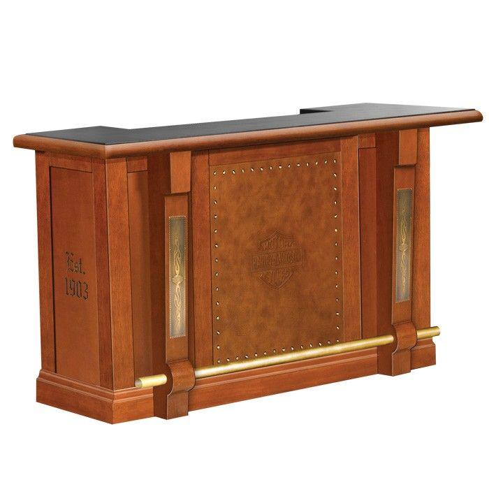 Unique Man Cave Furniture : Harley davidson bar shield flames w heritage brown