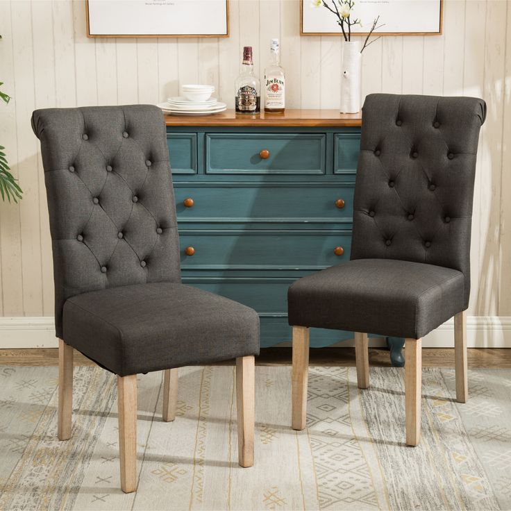 Habit Solid Wood Tufted Parsons Dining Chairs