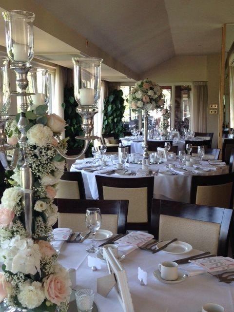 Wedding table arrangements at Bearwood Golf Club