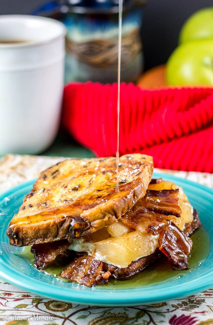 Apple Maple Bacon Stuffed Cinnamon Raisin French Toast make a delicious holiday weekend breakfast or brunch. ~ https://FlavorMosaic.com #ad