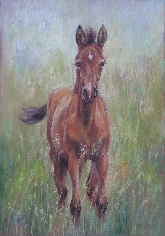 HORSE PORTRAIT LANDSCAPE  original pastel by CanisArtStudio