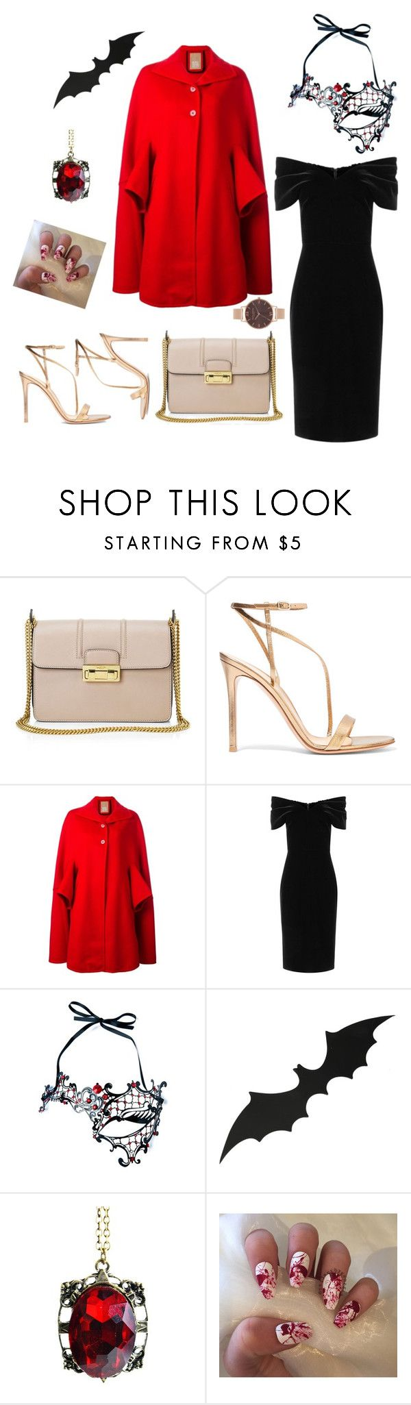 """Halloween Night"" by elomila ❤ liked on Polyvore featuring Lanvin, Gianvito Rossi, Pascal Millet, Emilio De La Morena, Kayso, Olivia Burton, Halloween, bat, mask and blackdress"