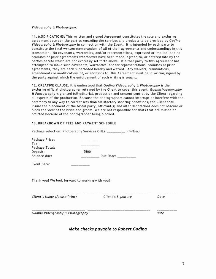 Videography Contract Template Free In 2020 With Images