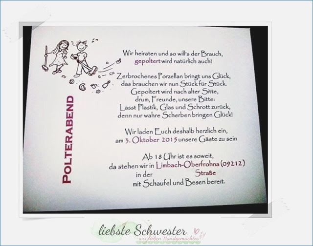 Polterhochzeit Einladung Awesome Einladung Polterabend Vorlage
