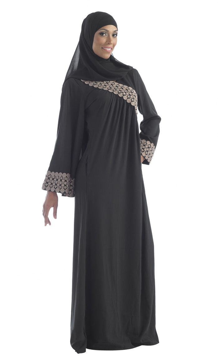 Beautiful lace work abaya in black and beige.