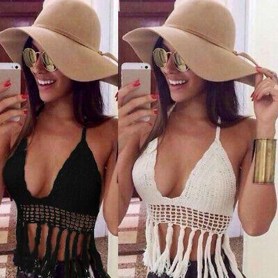 US Women Sexy Crochet Bralette Tassel Bra Crop Tops Cami Tank Boho Beach Bikini